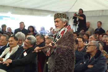 Revered reo Māori advocate, the late Dr Te Huirangi Eruera Waikerepuru CNZM (Taranaki, Ngāpuhi), pictured at Māori Television's official opening in 2004.