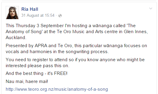 Te Oro Anatomy Of A Song Workshop With Ria Hall Mori Television