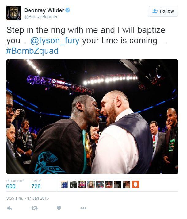 "Deontay Wilder Promises To ""baptise"" Tyson Fury"