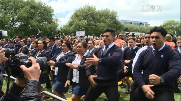 Auckland schools haka for ABs - Photo / file