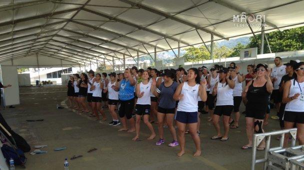 NZ contingent practising their haka in Brazil