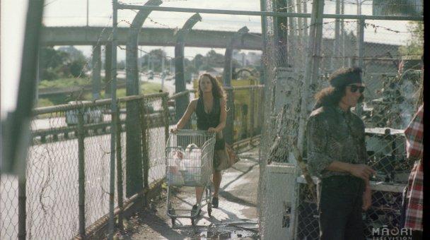 Long shot Beth pushing shopping trolley
