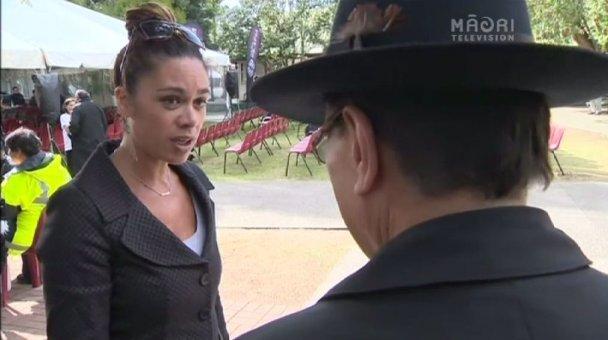 Te Kāea's Amomai Pihama interviewing Prof. Pou Temara