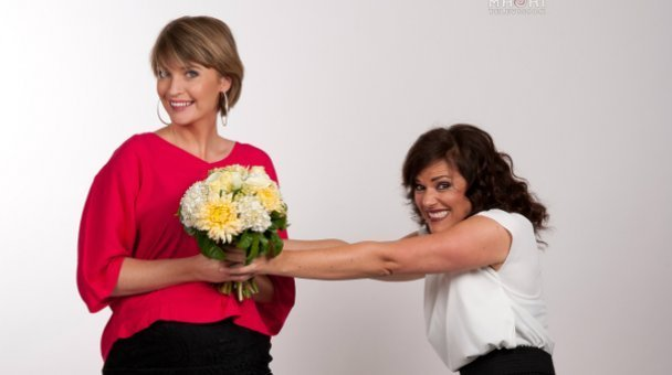 Crystal & Debbie fighting over wedding bouquet