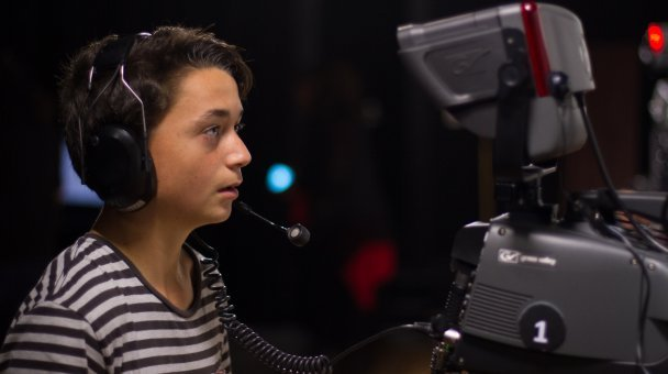 Niko's little brother operating a studio camera
