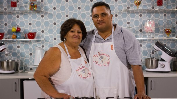 Ngawai and Wikiriwhi pictured together in front of the Whānau Bake Off bench