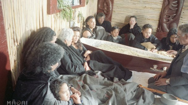 Heke Family at Gracie's coffin