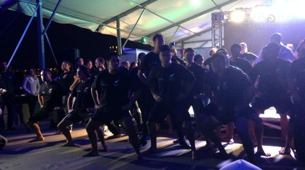 NZ contingent perform the haka - Cultural Night