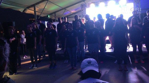 NZ contingent performing a few waiata - Cultural Night