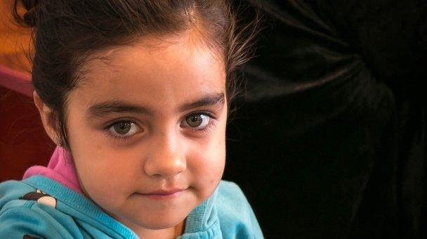 CU face of little girl