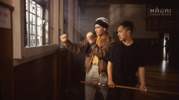 Lee Tamahori giving taiaha instruction to Boogie