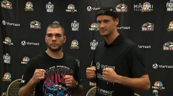 Berridge meets opponent Vasily Lepikhin at presser