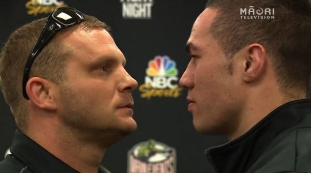 Parker meets opponent Keith Thompson at presser