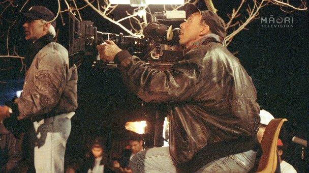 Stuart filming in tree - Lee in shot