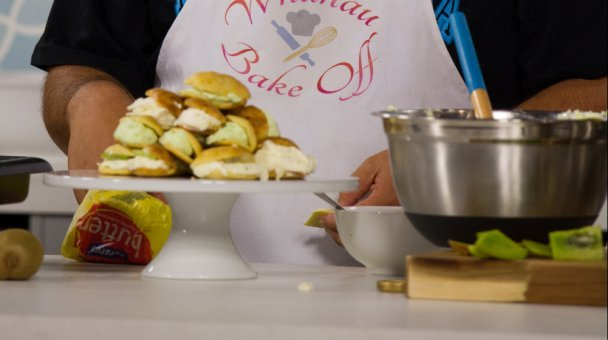 Profiteroles on a cake stand