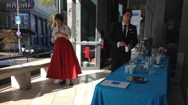 ANZAC Hosts enjoying a cup of tea