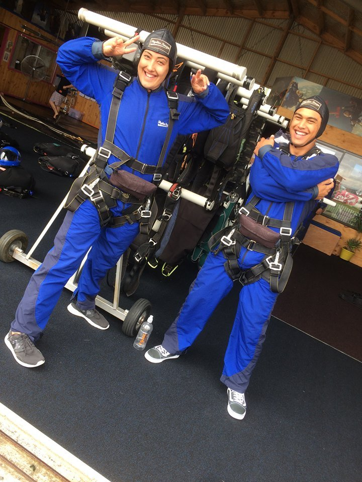 Waioira and Rereahu geared up for a sky dive
