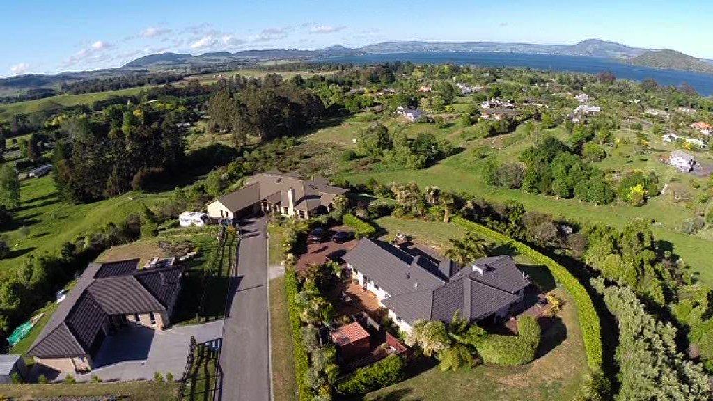 High angle aerial shot of the property of Makoha