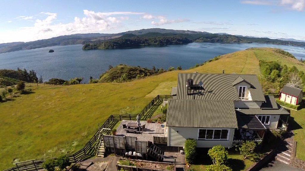 High angle shot - Manu's house in Rotoiti