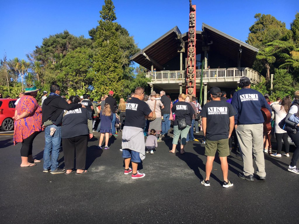 Community gathers for pōwhiri at Arataki - Photo / Supplied