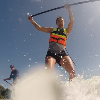Waioira on Stand Up Paddleboard - white water wave in front of the board