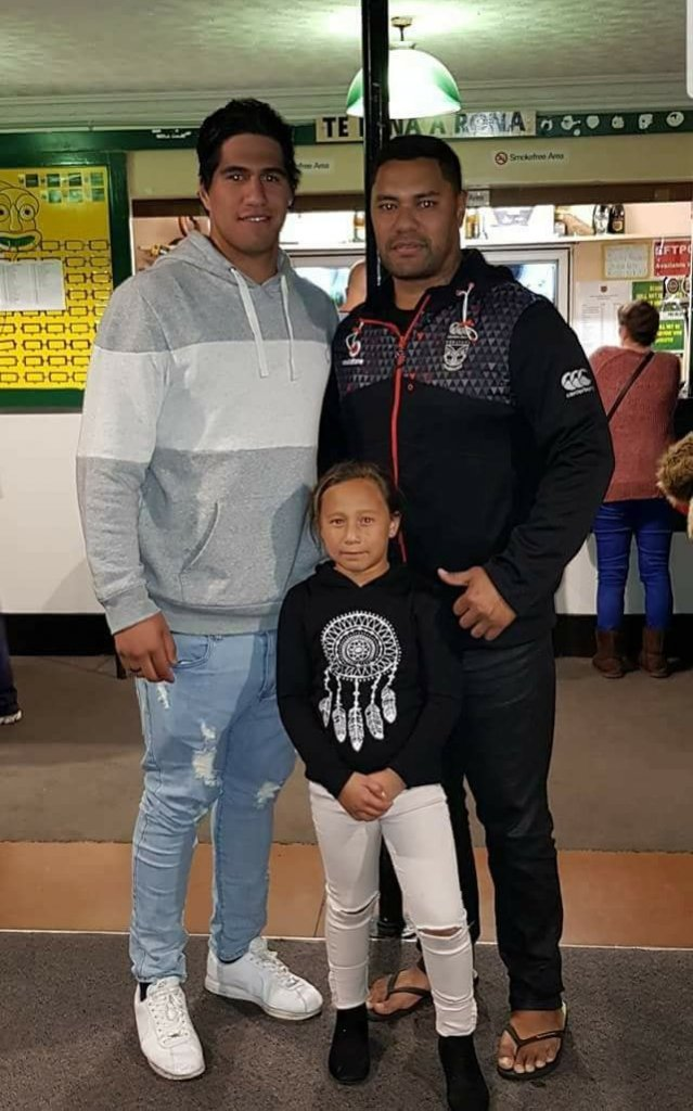 Emry Pere with Taniwharau Premier Coach Harley Raihe and daughter Wairere Raihe