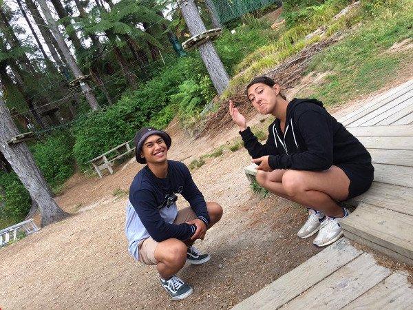 Waioira and Rereahu selfie (Waioira doing pūkana)