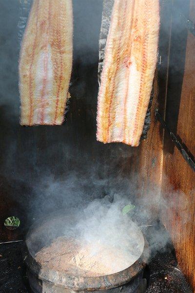 Tuna in smokehouse
