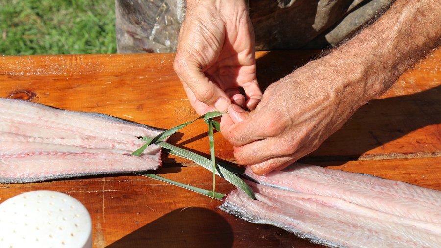 Tuna being prepared