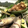 Yellow Fin Tuna steaks and whole fish on bed of leaves