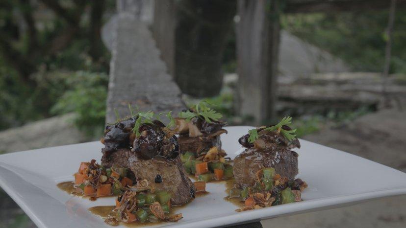 Beef with Sautéed Mushrooms and Ampalaya on display