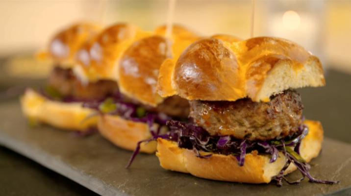 Thai Pork Burgers on a plate
