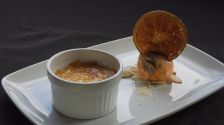 Creme Brulee on a plate with ice cream