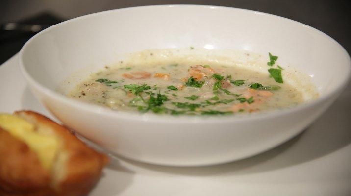 Bowl of seafood chowder