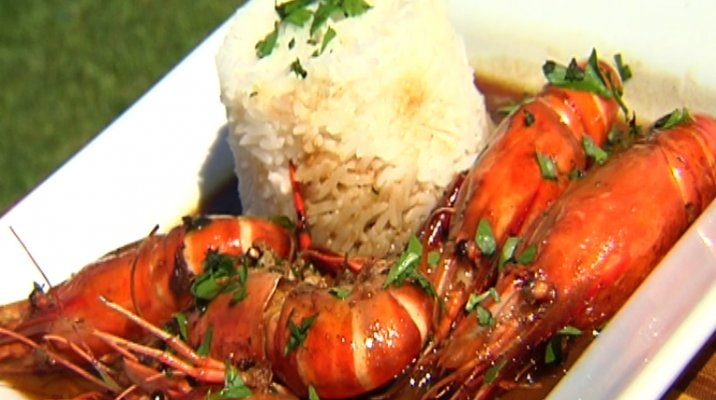 Finished plate of Huka prawns with rice