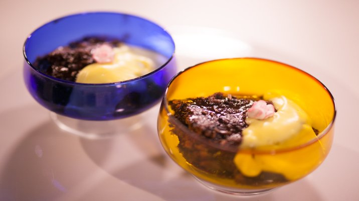 Chocolate Self-Saucing Pudding with Edmonds Custard