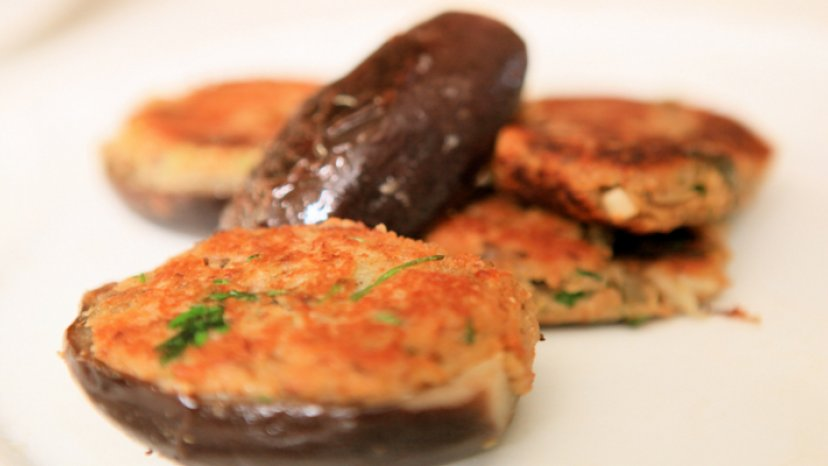 Melanzane Ripiene (Stuffed Eggplant) presented on a plate