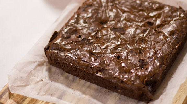 Prepared chocolate brownie by Delaney Mes