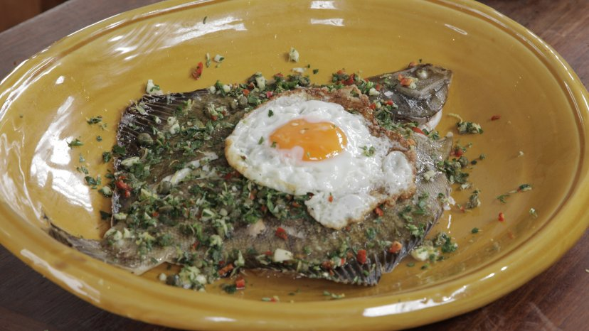 Kaipara Flounder with Gremolata & Fried Egg on display