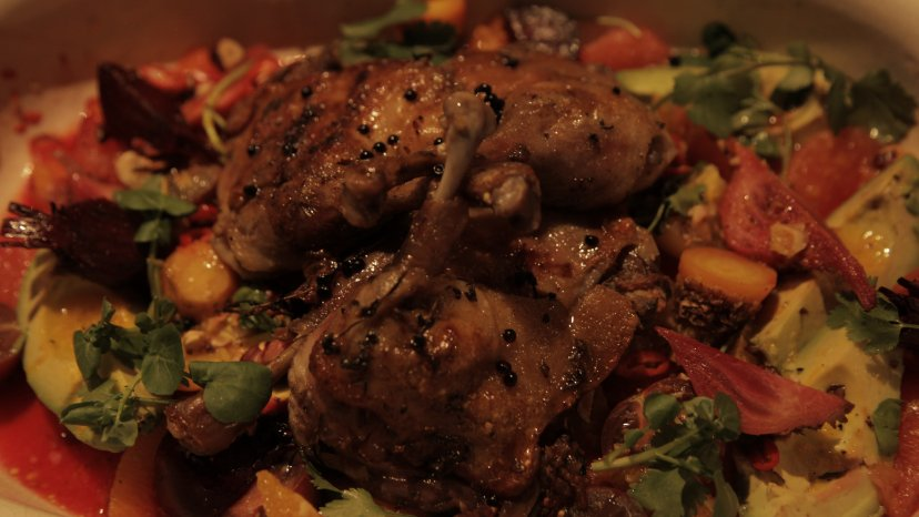 Duck Confit with Balsamic and Honey on display