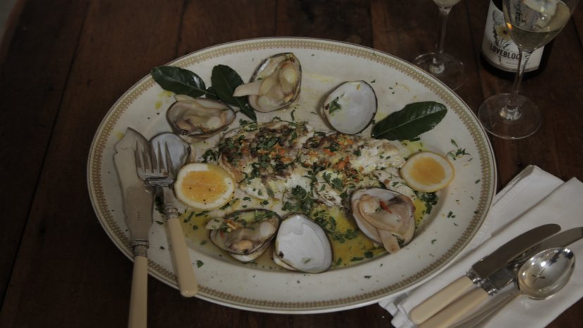 Cloudy Bay Clams with Grilled Hapuka on display
