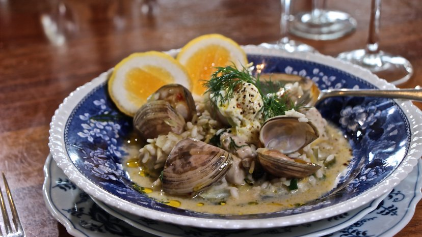 Lemon Dill Risotto with Poached Oysters & Cloudy Bay Clams on display