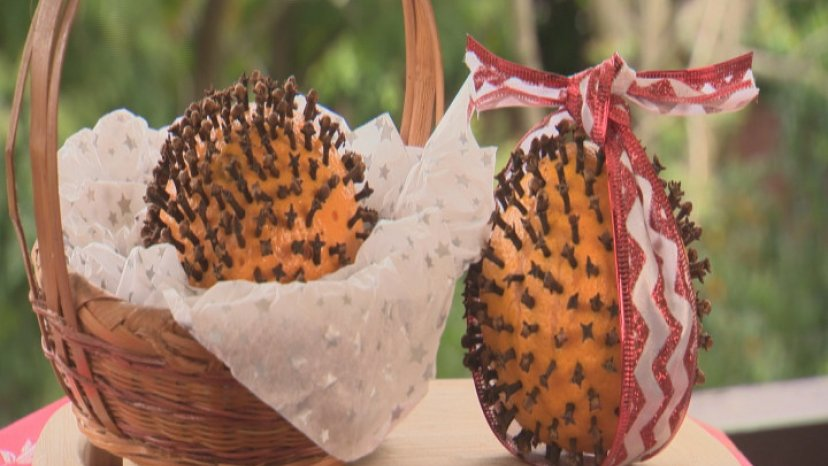 Pomander Balls presented in basket on a bench