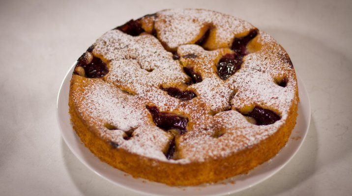 Plum and Yoghurt Cake on a plate - episode 6