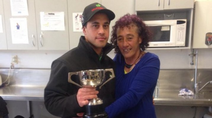 Smith and his mother celebrate his success