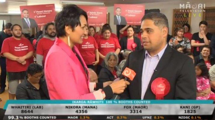 Reporter Billie Jo Ropiha with Labour Party's Peeni Henare