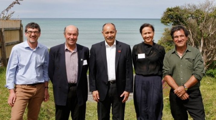Dr	   Noel	   Waite,	   Chair,	   Tuwhare	   Trust,	   Sir	   Edward	   Ellison,	   Ngai	   Tahu,	   Governor	   General	   and	   Tuwhare	    Trust	   Patron	   Sir	   Jerry	   Mateparae,	   Jeanette	   Wikaira,	   Tuwhare	   Trustee,	   Rob	   Tuwhare,	   Trustee	   and	   Hone	    Tuwhare's	   son	   at	   the	   Tuwhare	   Crib,	   Kaka	   Point,	   Balclutha,	   November	   9,	   2014.	   Photo	   by	   Sharron	    Bennett.