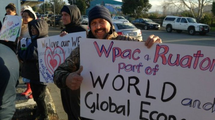 Petition presented to Ruatorea Westpac bank manager - Photo / Aroha Treacher