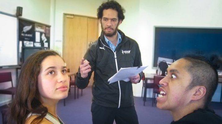 Pictured with principal actors, left, Kihere Aumua-Jahnke, who plays characters Waitaiki and Hine, with Tyson Tangaroa, who plays Poutini, a pounamu guardian