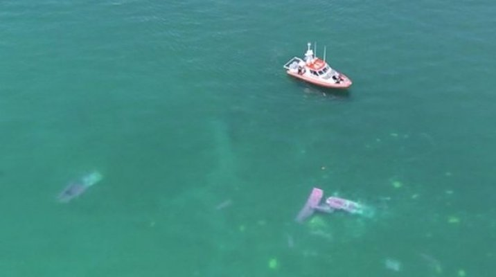 Plane crash debris in Lake Taupō - Photo / TV3